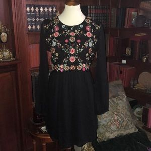 ZARA Floral Embroidered Cocktail Dress